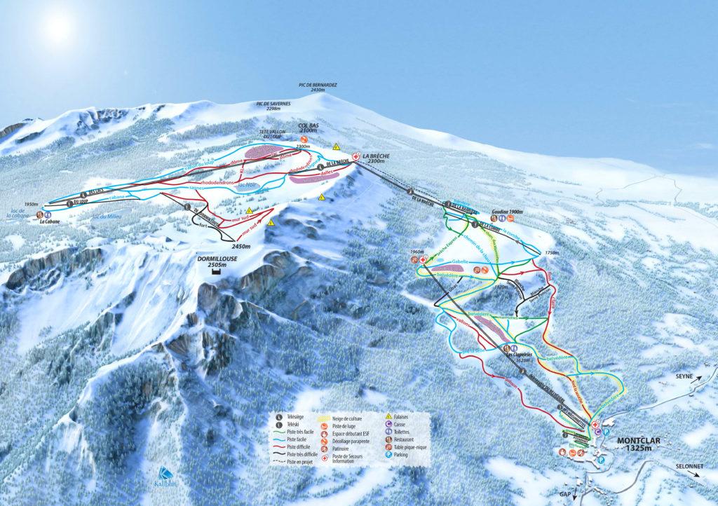 Plan des pistes de Montclar les 2 vallées