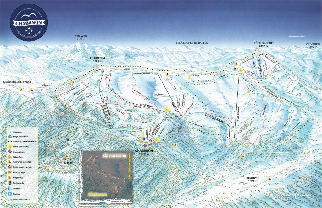 Plan des pistes de Chabanon